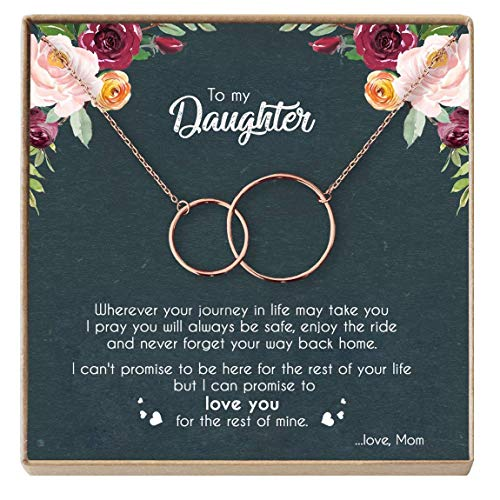 ter Necklace - Sterling Silver Two Interlocking Infinity Double Circles, Birthday Gifts for Daughter from Mom - Mom Daughter Jewelry Gift (C - Rose Gold) ()