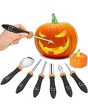 YQHbe Halloween pompoensnijset, 6 stuks pompoen snijset, roestvrij staal, snijgereedschap pompoen voor kinderen, Halloween decoratie, doe-het-zelf pompoen carving premium roestvrij staal gereedschap