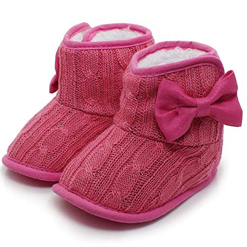 (CdyBox Little Baby Fleece Fur Knit Snow Boots Infant Warm Winter for 0-18 Months (6-12 Months, Rose Red))