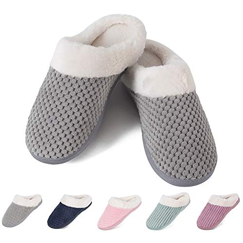 Women's House Shoes Fleece Memory Foam Plush Lining Anti-Slip Cozy Clog Home Slippers Indoor & Outdoor