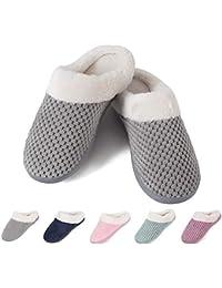 Women's Home Slippers Fleece Memory Foam Plush Lining Anti-Slip Cozy Clog House Shoes Indoor & Outdoor