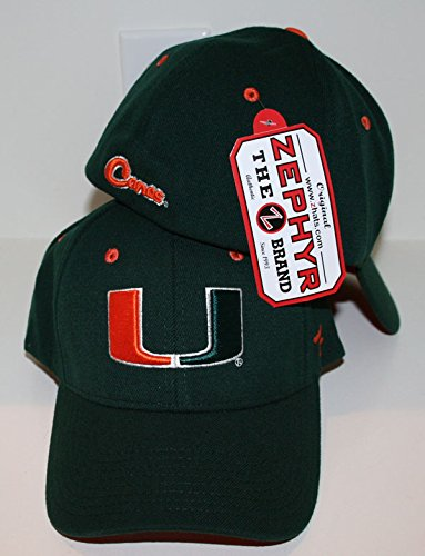 Miami Hurricanes Canes - CampusHats University of Miami UM Hurricanes Canes Sebastian Top Green DHS The U Adult Mens Fitted Baseball Hat/Cap Size XL