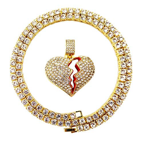 HH Bling Empire Mens Hip Hop Bling Iced Out 14K Gold Artificial Diamond Cartoon Characters cz Tennis Chain Necklace 22 Inch (Heart Break)