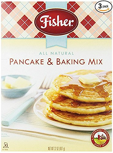 Fisher All Natural Pancake and Baking Mix, 32 Ounce Bag, Pack of 3