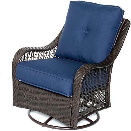 Hanover ORLEANS4PCSW-B-NVY 4-Piece All-Weather Patio Set Brown/Navy