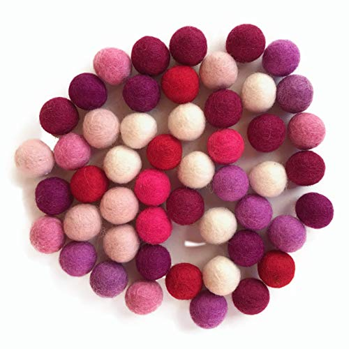 Mix Princess - 50 Felt Balls, 1 inch Made of 100% Merion Wool for Decoration, DIY and Creative Crafts Such as Garlands, Coasters, mobiles and Wreaths. 8-Natur Balls Shipped in -