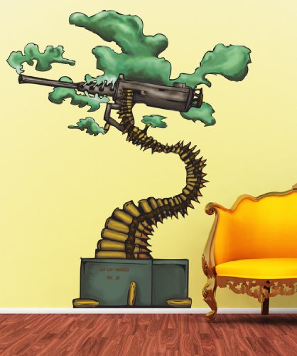 Vinyl Wall Decal Sticker Abstract Bonsai Machine Gun