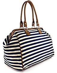 Classic Nautical Stripe 17 Framed Duffel Bag Carry On Shoulder Tote Handbag