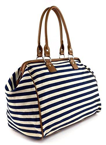 Classic Nautical Stripe 17'' Framed Duffel Bag Carry On Shoulder Tote Handbag by Tara's Travelers