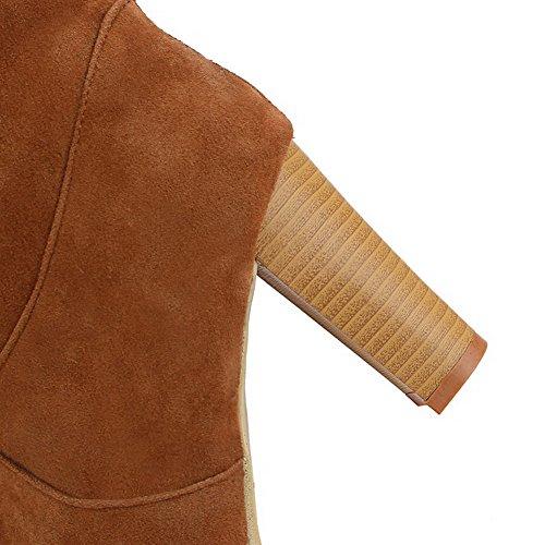 AllhqFashion Mujeres Sólido Gamuza(Imitado) Tacón Alto Sin cordones Puntera Redonda Botas Amarillo