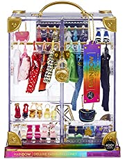 Rainbow High™ Deluxe Fashion Closet Playset – Create 400+ Fashion Combinations! Portable Clear Acrylic Toy Closet