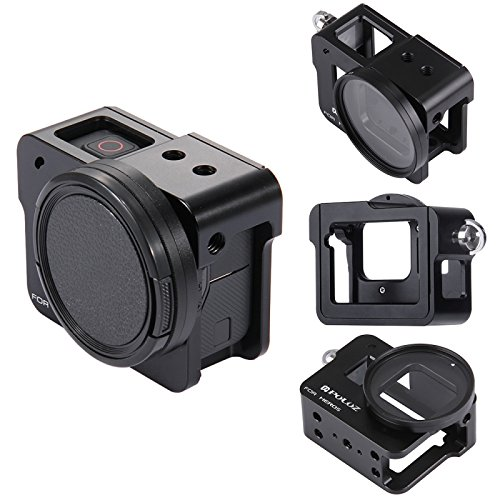 PULUZ for GoPro New Hero (2018) GoPro HERO6/ 5 CNC Aluminum Alloy Housing Shell Case Protective Cage with Insurance Frame & 52mm UV Lens (Black) (Protective Aluminum Case)