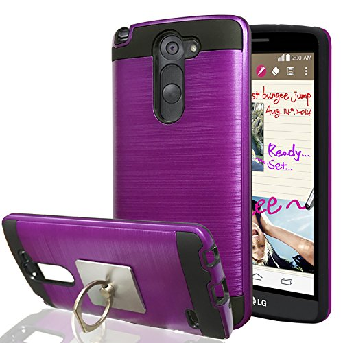 LG G3 Stylus / LG D690 Case With Phone Stand,Ymhxcy [Metal Brushed Texture] Hybrid Dual Layer Full-Body Shockproof Protective Cover Shell For LG D690-LS ()