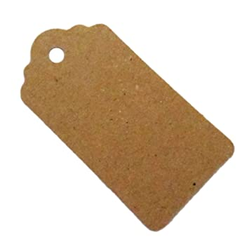Pack 50 Rustic 40mmx70mm Scalloped Kraft Paper CardBlank Brown TagWedding Favour