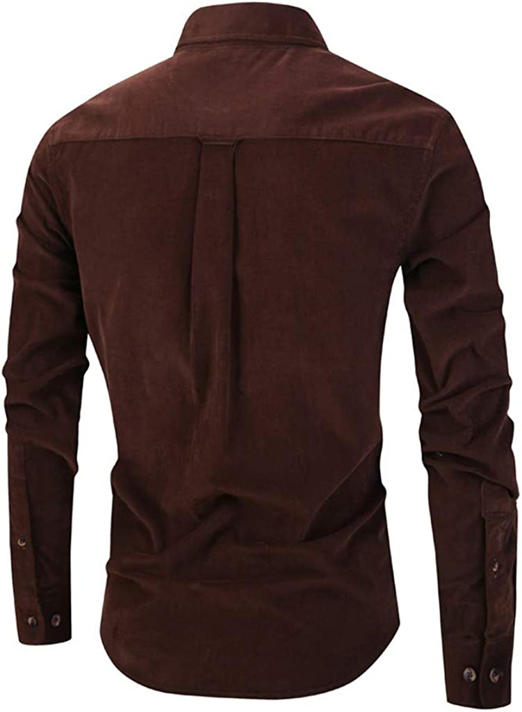 MORRAN Men/'s Winter Solid Color Vintage Long Sleeve Button Turndown Collar Casual Top Blouse Shirts