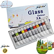 Magicdo®12 Cols Glass Paint With Free Palette, Professional Glass Colour set, Quality Non-Toxic Paint on Glass, Multi-Surface Satin glass Craft Paint Set, 12 x 12ml , Rich Pigment