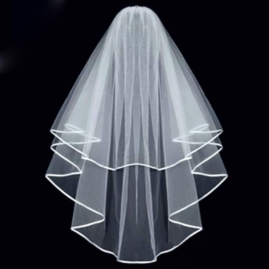 cici store Bride Double Layer Center Cascade Wedding Veils Ribbon Edge With Comb