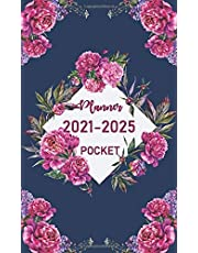 Pocket Planner 2021-2025: 5 Years calendar and monthly schedule organizer for personal time management with pink flower cover