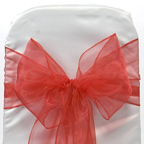 MDS Set of 50 Organza Chair Sashes / Bows sash for Wedding or Events Banquet Decor Chair bow sash -Red (Dining Set Usually Ships)