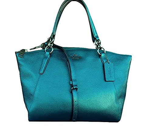 f9adfc9dd3 Coach Leather Small Kelsey Cross Body Bag (Dusk). Dark Teal. Magenta.  Metallic Dark Teal