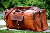 Leather Native New Large Men's Leather Vintage Duffle Luggage Weekend Gym Overnight Travel Bag Great Gift For Men And Women Summer Sale!
