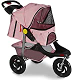 OxGord Pink Pet Stroller Cat Dog 3-Wheel Walk Jogger Travel Folding Carrier Deluxe