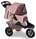 OxGord Folding 3-Wheel Pet Stroller, Pink