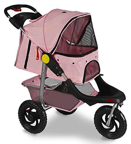 Paws & Pals Deluxe 3-Wheels Foldable Pet Stroller - - Three Pals Level Pet