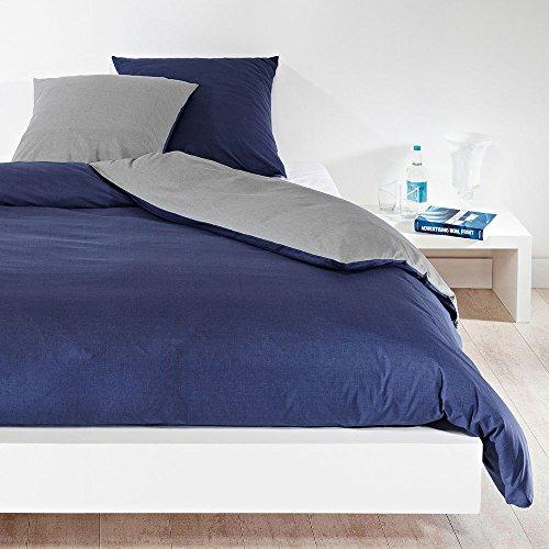 Bettwaren-Shop Wendebettwäsche hellgrau dunkelblau Bettbezug einzeln 200x220 cm