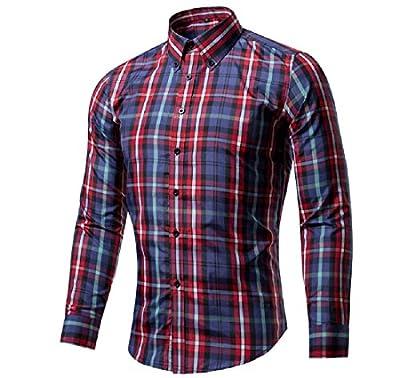 SportsX Men Plaid Button Down Lapel Floral Printed Vogue Dress Shirt Top