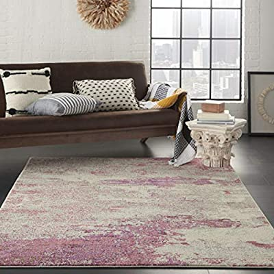 """Nourison Sublime Modern Abstract Area Rug 5'3"""" x 7'3"""" (5x7) Ivory/Pink, 5'3""""X7'3"""" - SOFT TO THE TOUCH: . 5"""" pile height and polypropylene fibers are inviting underfoot STAIN RESISTANT, FADE RESISTANT: Low shedding and easy to clean MODERN STYLE: Contemporary, colorful, borderless design - living-room-soft-furnishings, living-room, area-rugs - 51jV1w2g95L. SS400  -"""