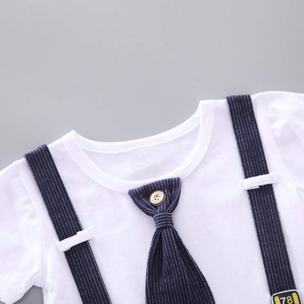 K-Youth Conjunto Bebe Ni/ño Ropa Bebe Recien Nacido Ni/ño Camiseta Manga Corta Tops Infantil y Pantalones Cortos Conjuntos de Ropa para Ni/ños Corbata de Lazo Trajes Caballeros Ropa Beb/é Ni/ño Verano