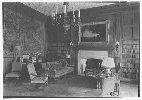 Photo: Mrs. Edwin Gould,residence at 936 5th Ave.,New York City. Library,to fireplace by Infinite Photographs