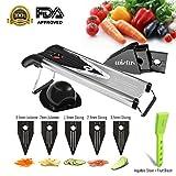 Mandoline Slicer,Wietus Premium V-Blade Stainless Steel Mandoline Slicer - Fruit and Vegetable Slicer - Food Slicer - Vegetable Cutter - Potato Slicer - Vegetable Julienne - Includes 5 Inserts