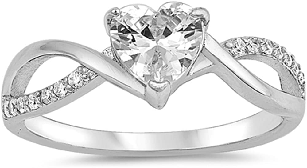 CloseoutWarehouse Heart Clear Cubic Zirconia Center Swirl Sides Ring Sterling Silver