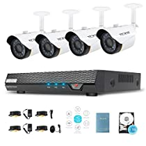 Surveillance Video Camera System 720p DVR with 1.5mp Day & Night Security Camera Weatherproof Home Video Security System