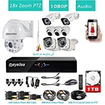 Eyedea H 1080P 8 CH DVR 18x Zoom Outdoor PTZ Pan Tilt Zoom Speed Dome Audio Waterproof Night Vision Video Surveillance CCTV Security Camera System 1TB Hard drive