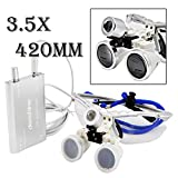 CoCocina New Design Silver 3.5X Dental Surgical Binocular Loupes Dentist Magnifier 420mm with LED -Silver