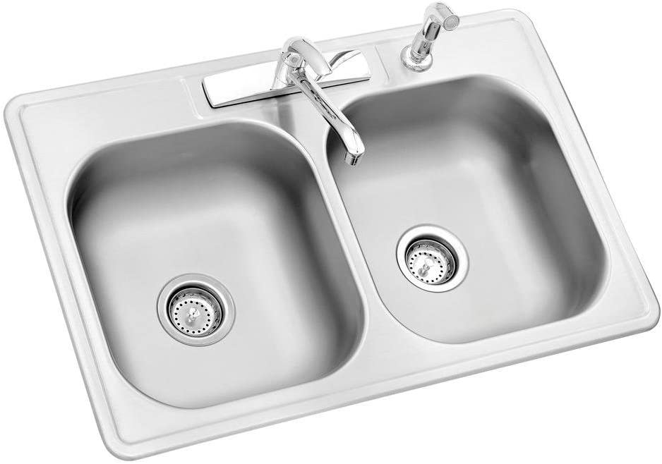 Glacier Bay All In One Drop In Stainless Steel 33 In 4 Hole Double Bowl Kitchen Sink Amazon Com