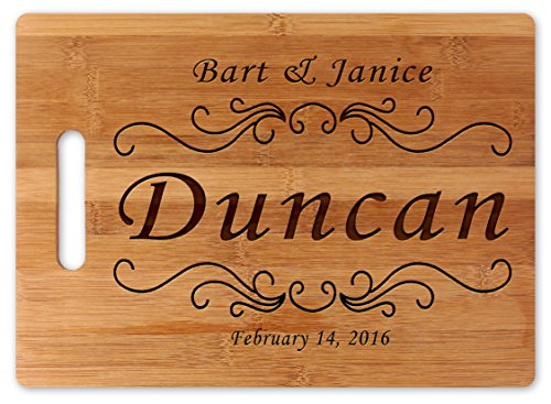 Custom Natural Bamboo Cutting Board Wedding or Engagement Gift, Personalized Your Text or Message (Wedding Date & Name w/Handle) … (16x12) -