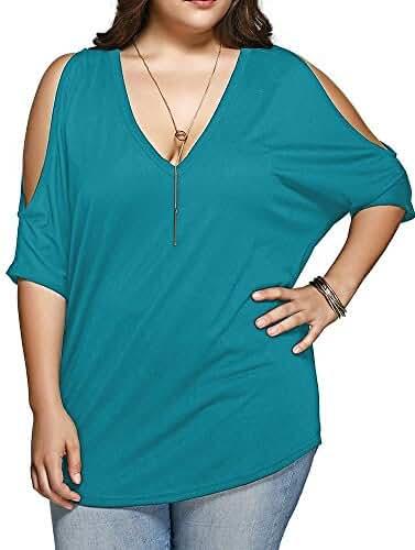 Allegrace Women Plus Size V Neck Short Sleeve Batwing Top Cold Shoulder T Shirt