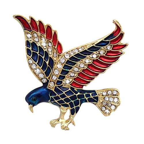 - cocojewelry 4th of July American Flag Design Eagle Pin Brooch Independence Day Gift (Gold-tone)