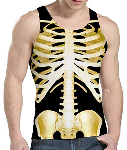 Idgreatim Men 3D Print Skeleton Tank Top Sleeveless Graphics Tees for Halloween Party S