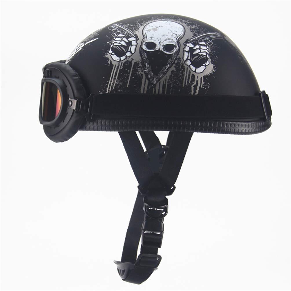 Qianliuk Vintage Motorcycle Open Face Helm Moto Casco dot für Chopper Bikes mit Goggle Retro Scooter Half Helm