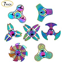 SCIONE Metal Fidget Spinner 7 Pack Stainless Steel Bearing 3-5 Min High Speed Stress Relief Spin ADHD Anxiety Toys Adult Kid Autism Fidgets Best EDC Hand Toy Focus Fidgeting