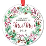 "Our First Christmas Mr & Mrs 2018 Ornament Pretty Evergreen Wreath Ceramic Keepsake Present for Newlywed Bride Groom 1st Holiday Married Couple 3"" Flat Porcelain w Red Ribbon & Free Gift Box OR00020"