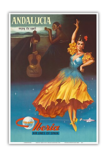 Pacifica Island Art Andalucia - Enjoy Under It's Spell - Iberia Air Lines of Spain - Vintage Airline Travel Poster 1959 - Master Art Print - 13in x 19in by Pacifica Island Art