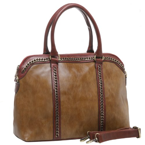 MG Collection JONILA Brown Chain Accent Doctor Style Office Tote Satchel Handbag