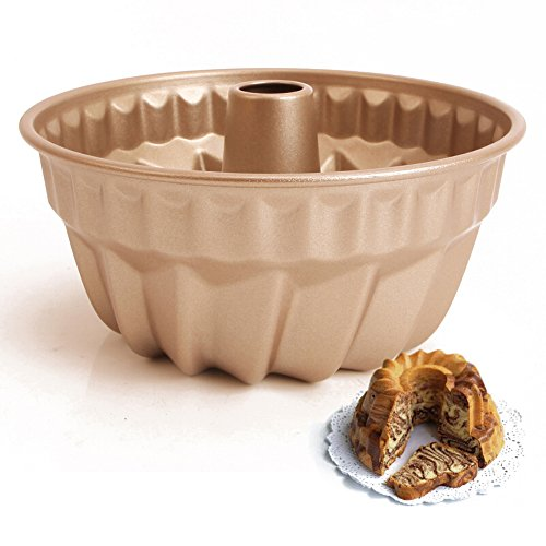 Forvel 7-inch [Non-Stick] Metallic Gugelhupf / Kugelhupf Pan Baking Mold - Easy Home Chocolate Gugelhopf Cake Maker