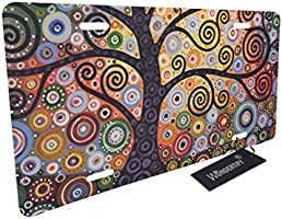 WONDERTIFY License Plate Tree of Life Colorful Sun Landscape Decorative Car Front License Plate,Vanity Tag,Metal Car Plate,Aluminum Novelty License Plate for Men//Women//Boy//Girls Car,6 X 12 Inch